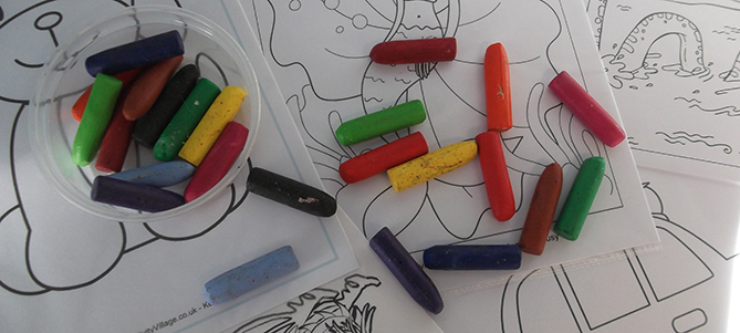 Colouring sheets and crayons toddler time