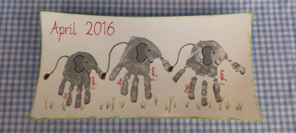 Elephant hand print plate