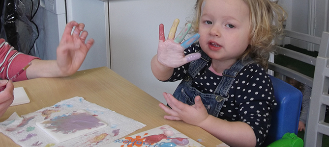 Toddler messy painting