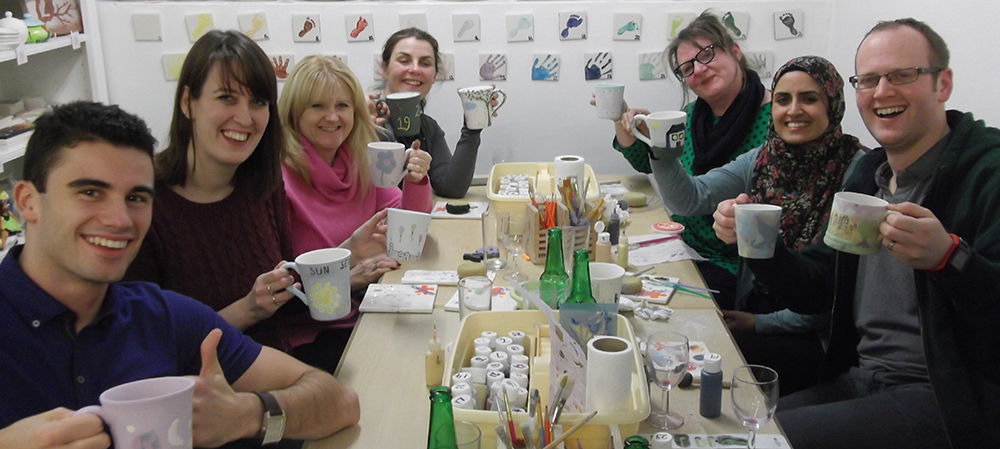 Corporate group pottery painting