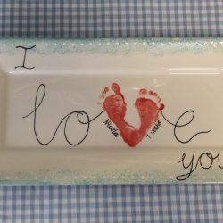 I love you footprint plate