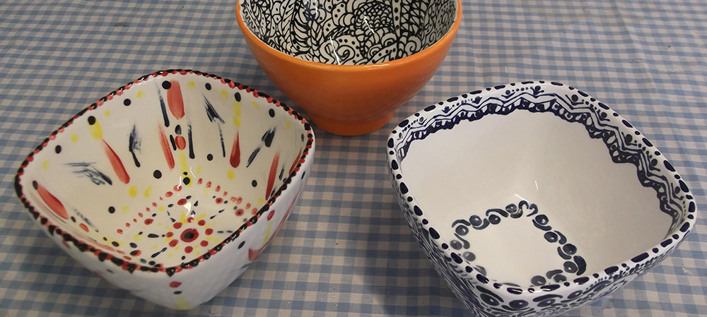 Painted pottery bowls